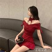 性感一字領露肩木耳邊紅色洋裝春夏修身荷葉邊短裙2021流行裙女 米娜小鋪
