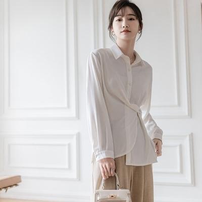 長袖襯衫601#白襯衫女2021年春秋設計感上衣韓版通勤垂感長袖上衣T238A紅粉佳人