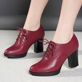 皮鞋女2021新款春秋季單鞋女粗跟繫帶高跟中跟真皮女鞋 伊蘿 618狂歡