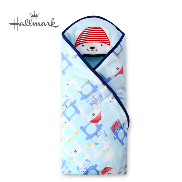 Hallmark Babies 帽子小熊純棉保暖夾棉連帽包巾/毯子 HH3-N09-A3-AB-MB