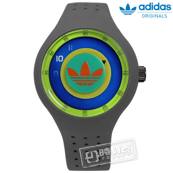 adidas 愛迪達 / ADH3057 / Originals 多層次雙層時標矽膠腕錶 橘綠x灰 41mm