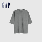 Gap男裝 純棉厚磅純色圓領短袖T恤 662321-灰色