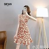 雪紡洋裝女夏季2021新款無袖收腰顯瘦波點輕熟風氣質女神范裙子 小艾新品