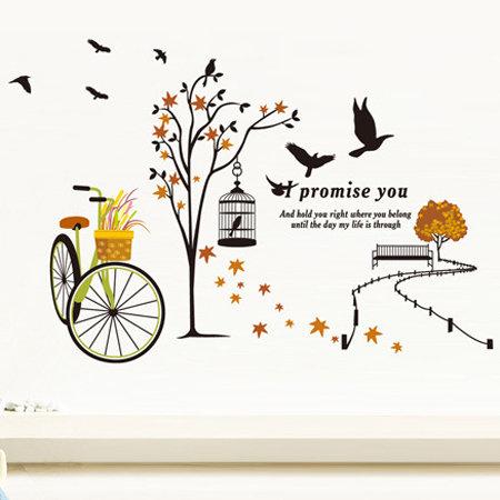 壁貼 鳥 腳踏車 樹 秋遊 創意壁貼 無痕壁貼 壁紙 牆貼 室內設計 裝潢【YV2888】Loxin