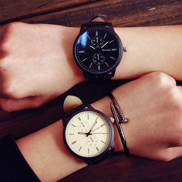 [現貨] 簡約鱷魚紋皮革刻度獨立秒針錶 情侶錶