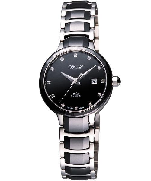 Standel 詩丹麗 美媛真鑽陶瓷腕錶-黑 3S2622SDD