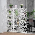 簡約現代屏風隔斷客廳臥室移動雕花雙面辦公...