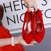 婚鞋女紅色孕婦粗跟新娘鞋平底蝴蝶結大碼紅鞋結婚鞋子-BB奇趣屋
