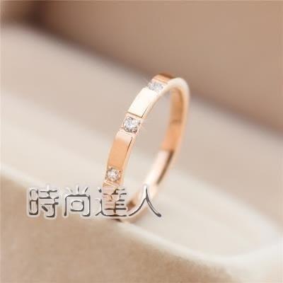 售完即止-鑲水鑽戒指玫瑰金色情侶對戒鈦鋼食指環學生個性尾戒生日禮物3-4(庫存清出S)