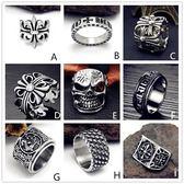 日韓男士潮人個性鈦鋼戒指復古霸氣正韓單身食指十字夸張朋克指環三角衣櫥