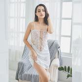 愛的誘惑性感睡衣女夏季火辣情趣成人透明蕾絲鏤空騷冰絲吊帶睡裙   提拉米蘇