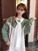 秋裝女裝新款韓版寬鬆格子撞色拼接假兩件長袖連帽衛衣連身裙 亞斯藍