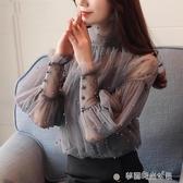 雪紡襯衫女長袖秋裝新款韓版時尚洋氣氣質顯瘦很仙的蕾絲上衣 夢露時尚女裝