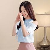 很仙的雪紡衫女夏裝新款短袖打底衫小衫韓版圓領漏肩上衣GD747-A胖妞衣櫥