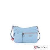 beside u BFYF 防盜刷多口袋印花輕量側背包 – 藍色 原廠公司貨