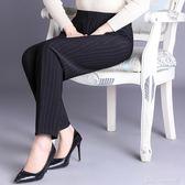 直筒褲中老年人女褲春夏薄款寬鬆彈力褲鬆緊腰媽媽褲60歲老人高腰褲 阿宅便利店