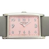 Tiffany & Co 蒂芬妮 East West 粉紅錶盤灰色小牛皮腕錶 【BRAND OFF】
