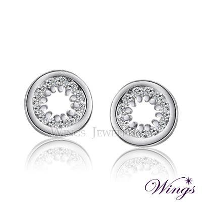 Wings 星光 超精緻設計巧妙的內圍鑲鑽之方晶鋯石耳環