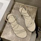 熱賣低跟鞋水鑽涼鞋女仙女風2021年新款夏季百搭低跟軟底帶鑽學生羅馬平底鞋 【618 狂歡】