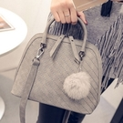 手提包-年輕簡奢潮流繡格肩背女貝殼包4色72an7【巴黎精品】