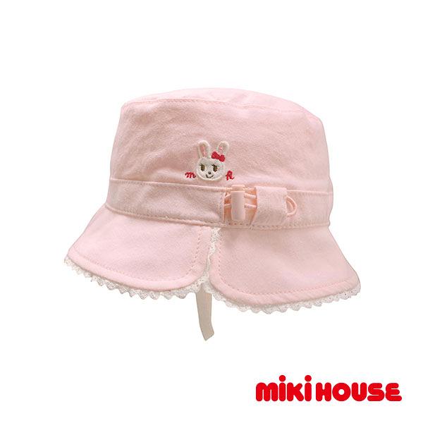 MIKI HOUSE 抗UV舞颯兔雙面遮陽帽(粉)
