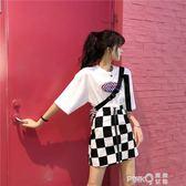 2018夏季新款韓版原宿半身裙顯瘦女胖mm高腰格子a字包臀短裙200斤 【PINK Q】