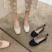 平底單鞋女2溫柔珍珠淺口軟底奶奶豆豆鞋夏春款【慢客生活】