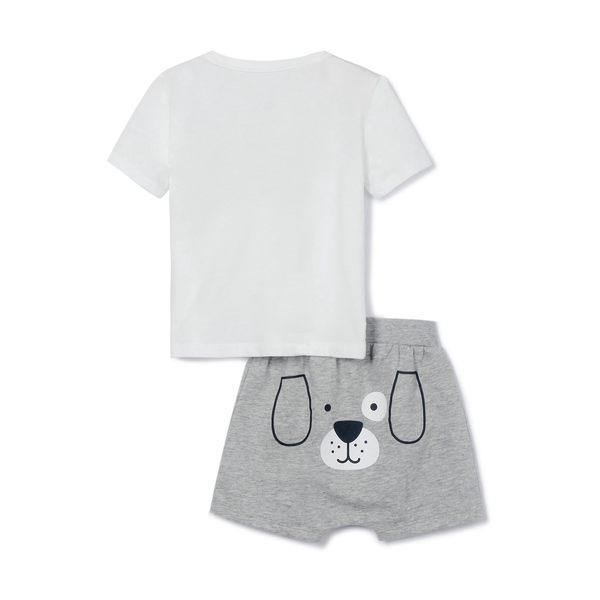 Gap男嬰兒 Logo圓領短袖短褲套裝 485321-光感亮白
