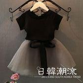 洋裝/裙子 女童短袖 紗裙套裝夏裝新款2019韓版兒童t恤半身短裙兩件套裝3024