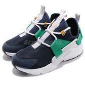 Nike 休閒鞋 Wmns Air Huarache City Low 藍 綠 白底 綁帶 低筒 女鞋 武士鞋 【PUMP306】 AH6804-401
