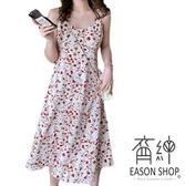 EASON SHOP(GW6358)韓版復古碎花印花圓領無袖傘狀A字細肩帶吊帶連身裙洋裝女上衣服長裙中長款過膝裙