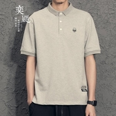 簡約男士polo衫 修身刺繡潮牌黑色t恤日系純色衣服男短袖