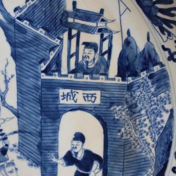 清康熙青花人物故事大盤 全手繪家居擺件收藏 仿古瓷器 古董古玩1入
