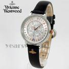 【萬年鐘錶】 Vivienne Westwood  英國 時尚精品 LOGO圖騰錶盤  皮革輕量款  銀 30mm  VV114SLBK