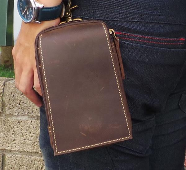 真皮手機腰包-休閒復古瘋馬皮 暗扣多層 手機袋 iPhone 手機包 掛包 真皮包 零錢包 收納包-咖啡色