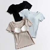 女純棉帶胸墊短袖T恤半袖打底衫文胸罩杯一體瑜伽家居服睡衣上衣 貝芙莉