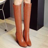 冬季及膝靴簡約粗跟高跟鞋大碼女鞋長筒靴女士靴子 萬客居