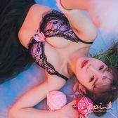 i PINK 大罩杯 蘿莉貓咪 獨家貓耳蕾絲緞面薄杯成套內衣70B-90H(粉)