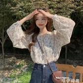 2020年新款小衫韓版洋氣溫柔風碎花雪紡衫女長袖打底衫泡泡袖上衣 唯伊時尚