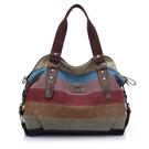 帆布手提包-大容量撞色條紋復古女肩背包7...