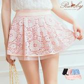 褲裙 露比設計花朵蕾絲網紗褲裙-Ruby s 露比午茶