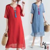 裝中國風復古仿真絲民族風短袖連身裙