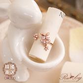 戒指 韓國直送垂墜花朵水鑽蝴蝶指環戒指-Ruby s 露比午茶