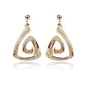 耳環 玫瑰金 925純銀鑲鑽-三角螺旋生日情人節禮物女飾品2色73gs99【時尚巴黎】