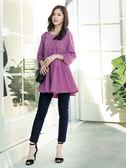 春裝上市[H2O]傘狀分層抽細褶短版甜美風膝上洋裝 - 綠/白/紫粉色 #9684004