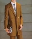 找到自己品牌 韓國男 修身毛呢雙排扣中長款 兩件式西裝外套 成套西裝 西裝外套 外套褲子