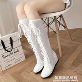 新款韓版單靴子女鞋春秋夏季長靴高筒靴內增高鏤空高跟蕾絲白
