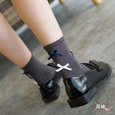 八八折促銷-長統襪蝴蝶結短襪個性棉質絲帶蝴蝶結手工縫頭中筒襪學院風短襪