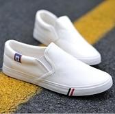 板鞋白色一腳蹬豆豆鞋男士春夏帆布鞋韓版青少年百搭布鞋學生休閒板鞋 JUST M