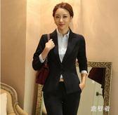 西裝外套 2019新款黑色短款長袖女小西裝韓版職業正裝西服外套TA548【旅行者】